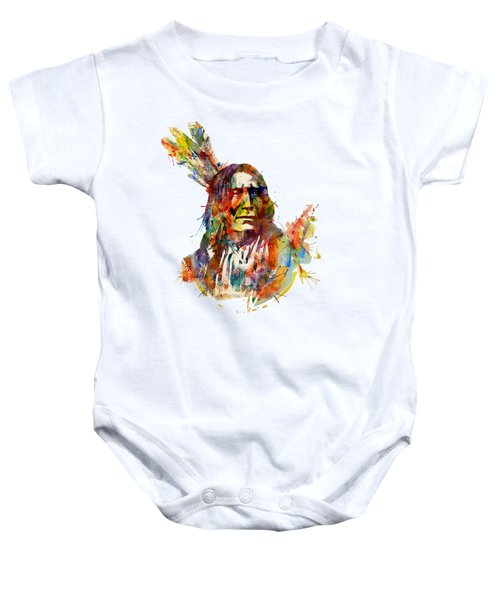 Chief Mojo Watercolor Baby Onesie by Marian Voicu