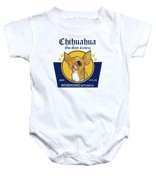 Chihuahua One-eyed Cerveza Baby Onesie by John LaFree