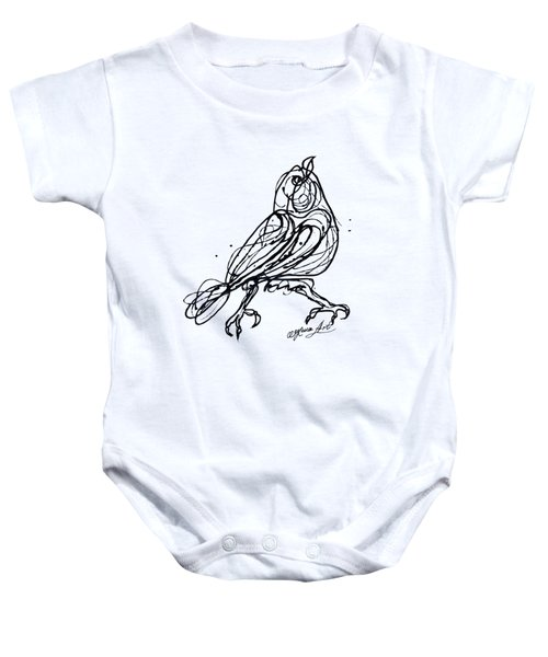 Chin Up Little Buttercup  Abstract Pollock Style On Paper Baby Onesie