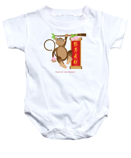 Chinese Year Of The Monkey With Peach And Banner Illustration Baby Onesie
