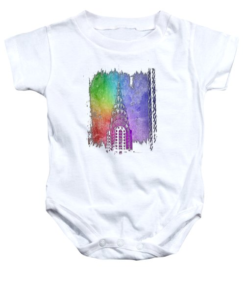 Chrysler Spire Cool Rainbow 3 Dimensional Baby Onesie by Di Designs