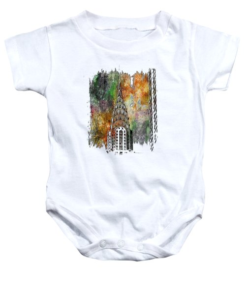 Chrysler Spire Muted Rainbow 3 Dimensional Baby Onesie by Di Designs