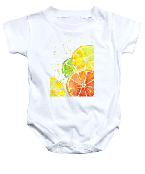Citrus Fruit Watercolor Baby Onesie by Olga Shvartsur