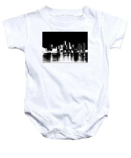 City Of Boston Skyline   Baby Onesie by Enki Art