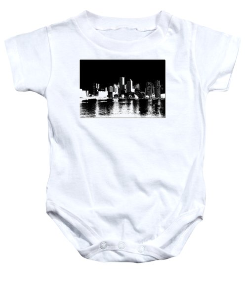 City Of Boston Skyline   Baby Onesie