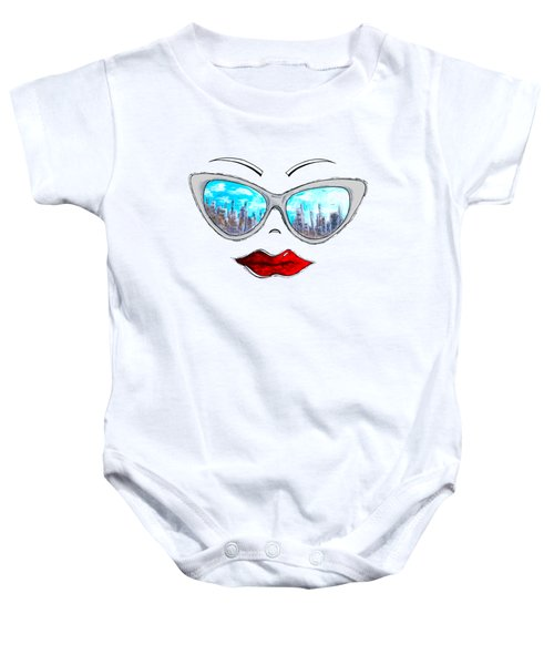 City Skyline Cat Eyes Reflection Sunglasses Aroon Melane 2015 Collection Collaboration With Madart Baby Onesie