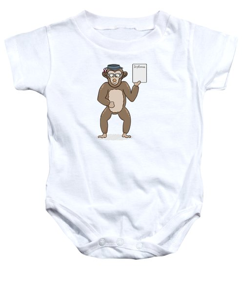 Clever Monkey With Diploma Baby Onesie