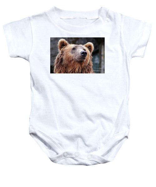 Baby Onesie featuring the photograph Close Up Bear by MGL Meiklejohn Graphics Licensing