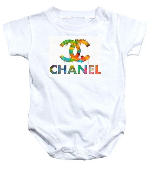 Coco Chanel Paint Splatter Color Baby Onesie