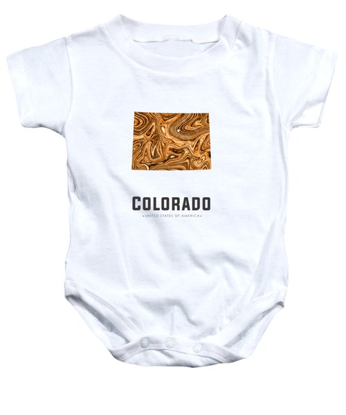 Colorado Map Art Abstract In Brown Baby Onesie