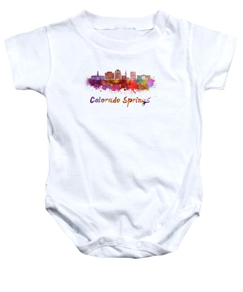 Colorado Springs V2 Skyline In Watercolor Baby Onesie