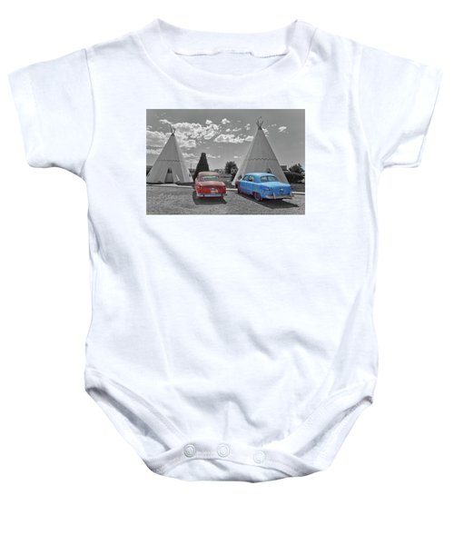 Colored Cars And Tee Pee Motel--holbrook Baby Onesie