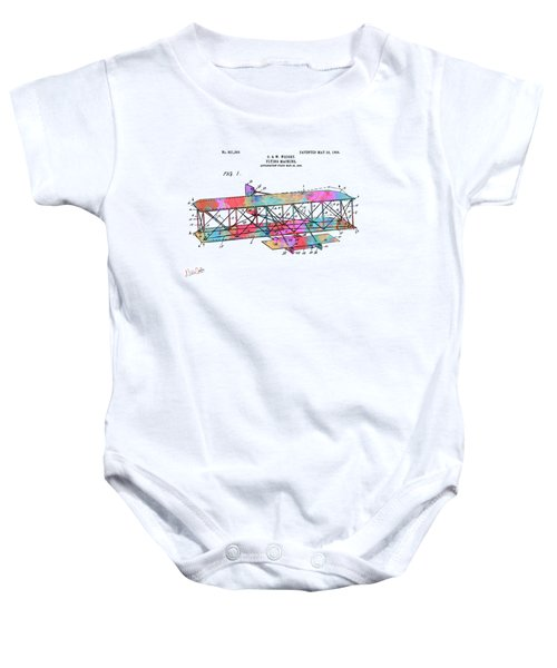 Colorful 1906 Wright Brothers Flying Machine Patent Baby Onesie