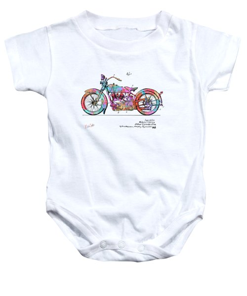 Colorful 1928 Harley Motorcycle Patent Artwork Baby Onesie