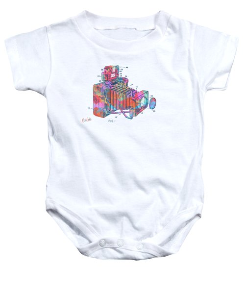 Colorful 1966 Photographic Camera Accessory Patent Minimal Baby Onesie