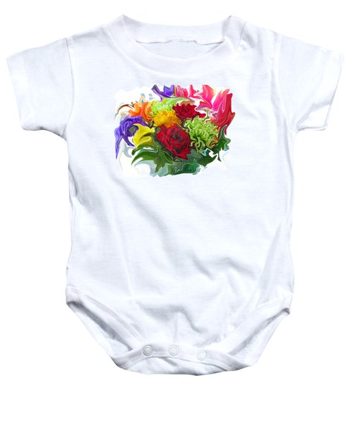 Colorful Bouquet Baby Onesie by Kathy Moll