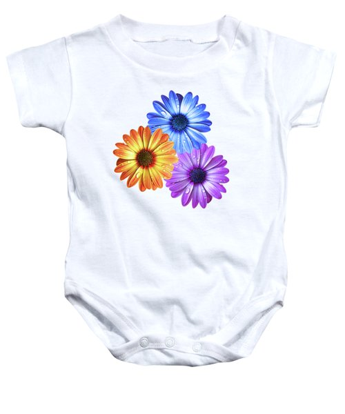 Colorful Daisies With Water Drops On White Baby Onesie