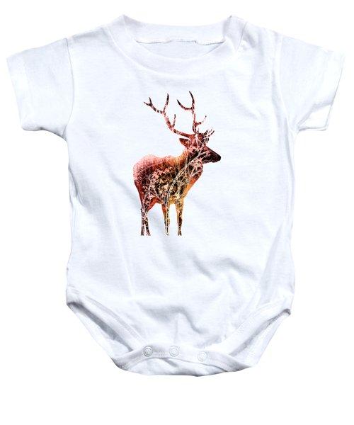 Colorful Deer Art  Baby Onesie by Diana Van
