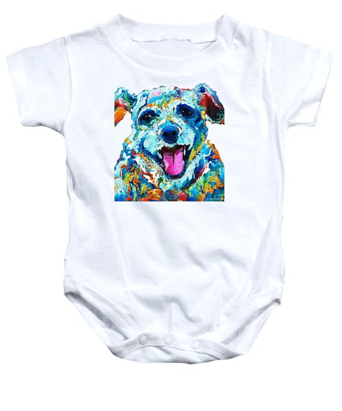 Colorful Dog Art - Smile - By Sharon Cummings Baby Onesie