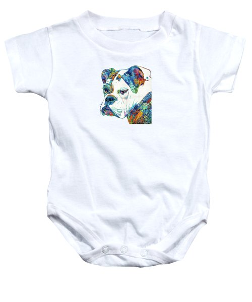 Colorful English Bulldog Art By Sharon Cummings Baby Onesie