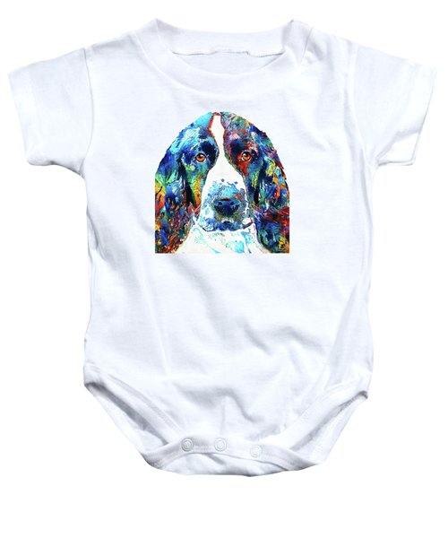 Colorful English Springer Spaniel Dog By Sharon Cummings Baby Onesie by Sharon Cummings
