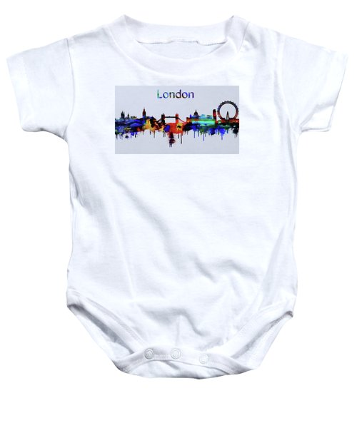 Colorful London Skyline Silhouette Baby Onesie by Dan Sproul