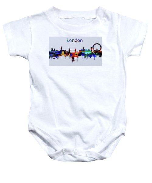 Colorful London Skyline Silhouette Baby Onesie