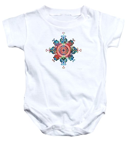 Colorful Pattern Art - Color Fusion Design 3 By Sharon Cummings Baby Onesie