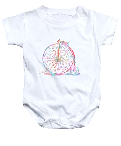 Colorful Penny-farthing 1867 High Wheeler Bicycle Baby Onesie