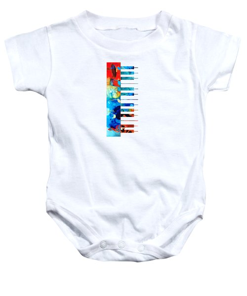 Colorful Piano Art By Sharon Cummings Baby Onesie by Sharon Cummings