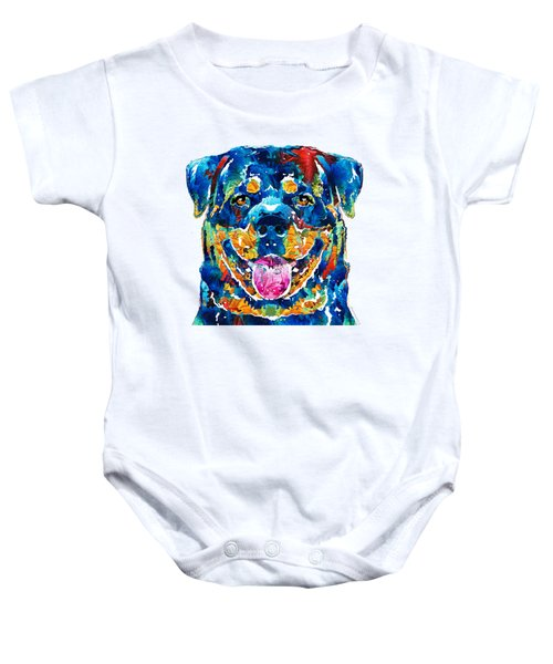 Colorful Rottie Art - Rottweiler By Sharon Cummings Baby Onesie by Sharon Cummings
