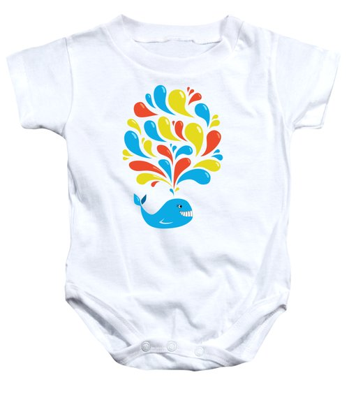 Colorful Swirls Happy Cartoon Whale Baby Onesie by Boriana Giormova
