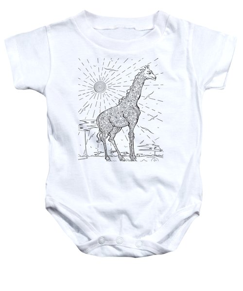 Coloring Page With Beautiful Giraffe Drawing By Megan Duncanson Baby Onesie by Megan Duncanson
