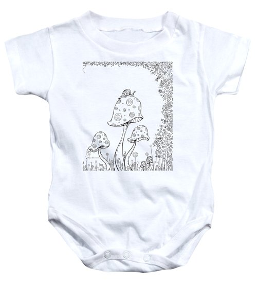 Coloring Page With Beautiful In The Garden 8 Drawing By Megan Duncanson Baby Onesie by Megan Duncanson