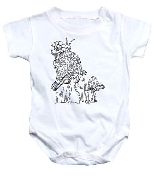 Coloring Page With Beautiful Mushroom And Snail Drawing By Megan Duncanson Baby Onesie
