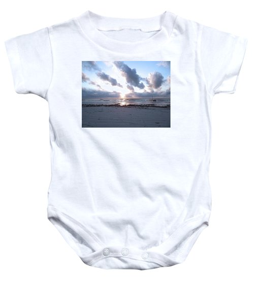 Coloured Sky - Sun Rays And Wooden Dhows Baby Onesie