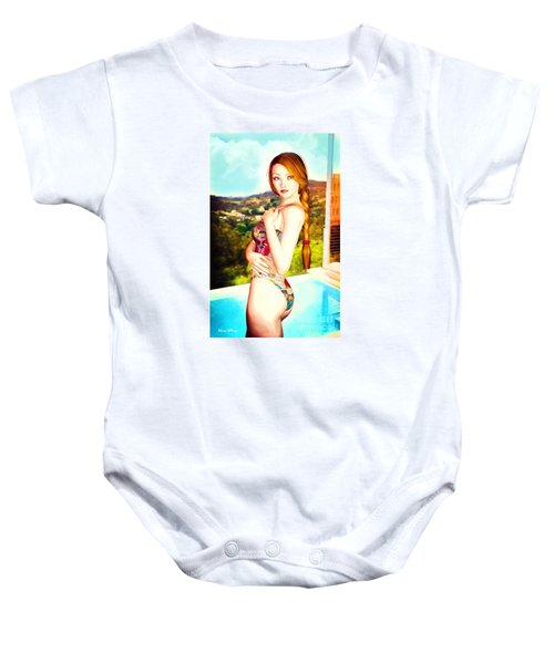 Comic Book Swimsuit Pinup In The Hollywood Hills Baby Onesie