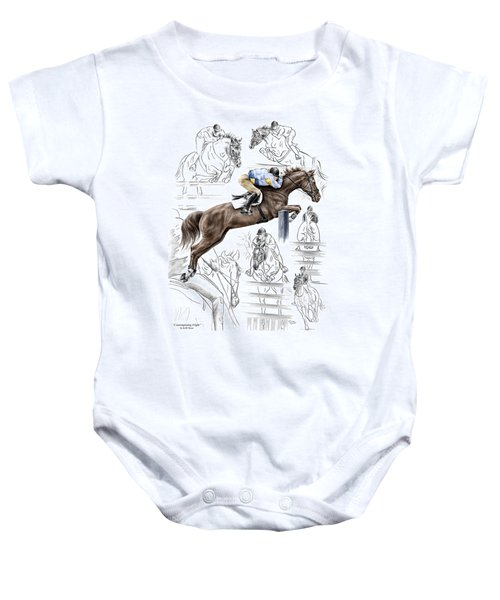 Contemplating Flight - Horse Jumper Print Color Tinted Baby Onesie