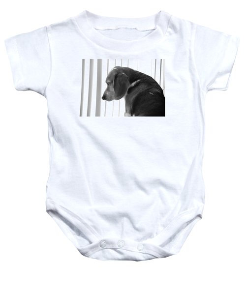 Baby Onesie featuring the photograph Contemplative Beagle by Jennifer Ancker