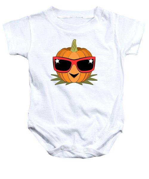 Cool Pumpkin Wearing Retro Nineties Sunglasses Baby Onesie