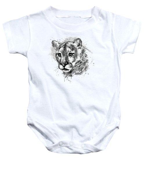 Cougar Head Black And White Baby Onesie