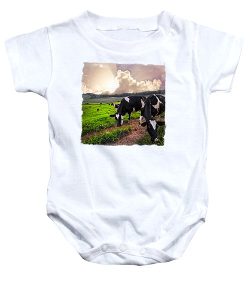 Cows At Sunset Bordered Baby Onesie by Debra and Dave Vanderlaan