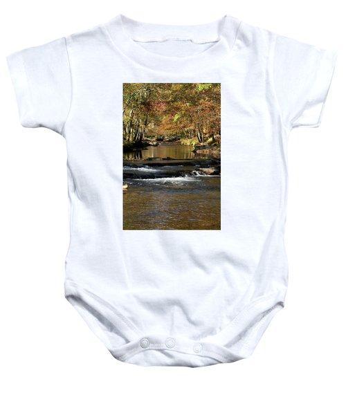 Creek Water Flowing Through Woods In Autumn Baby Onesie