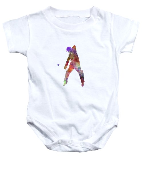 Cricket Player Batsman Silhouette 02 Baby Onesie by Pablo Romero