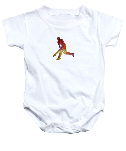Cricket Player Batsman Silhouette 03 Baby Onesie by Pablo Romero