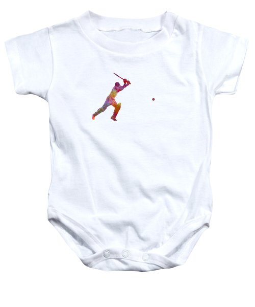 Cricket Player Batsman Silhouette 04 Baby Onesie by Pablo Romero