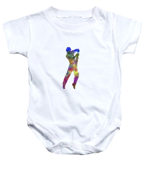 Cricket Player Batsman Silhouette 05 Baby Onesie by Pablo Romero