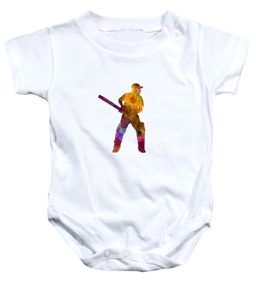 Cricket Player Batsman Silhouette 07 Baby Onesie by Pablo Romero