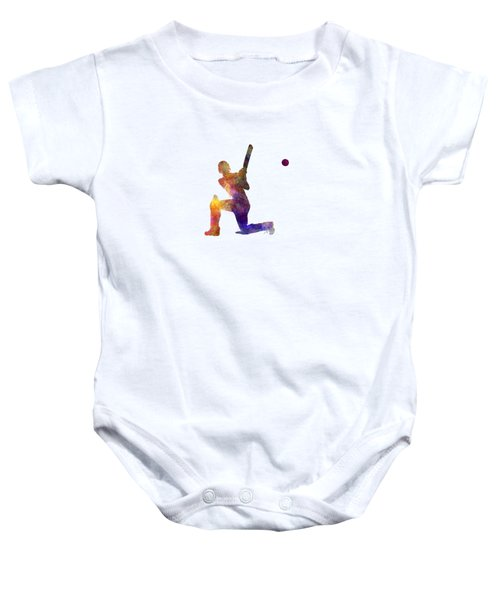 Cricket Player Batsman Silhouette 08 Baby Onesie by Pablo Romero