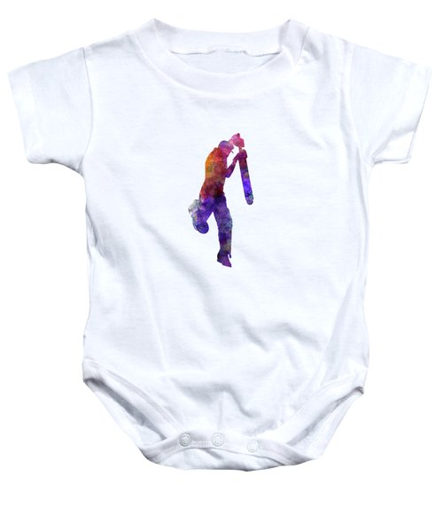 Cricket Player Batsman Silhouette 09 Baby Onesie by Pablo Romero